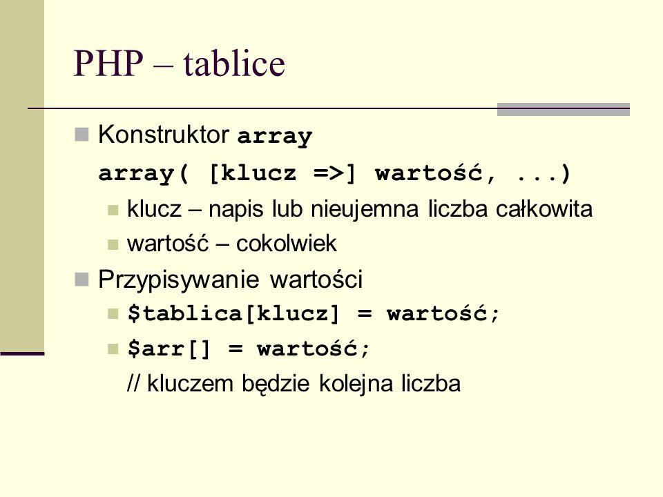 PHP – tablice Konstruktor array array( [klucz =>] wartość, ...)